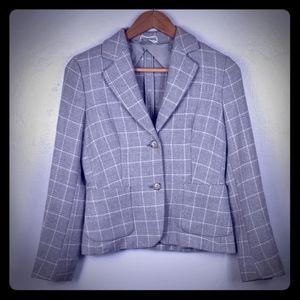 MaxMara Virgin Wool Cashmere Windowpane Jacket